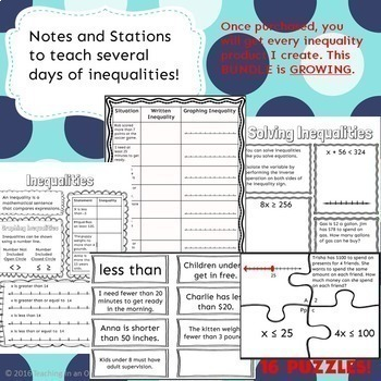 One Step Inequalities Notes and Stations BUNDLE
