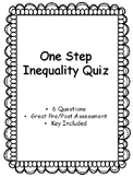 One Step Inequalities Quiz - Key Included