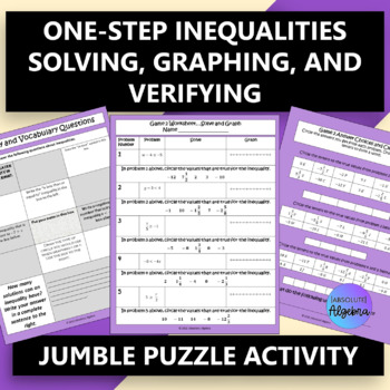 One-Step Inequalities:  Solving, Graphing, & Verifying $100,000 Pyramid Game
