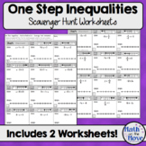 One Step Inequalities (Solving and Graphing) - Scavenger Hunt Worksheets