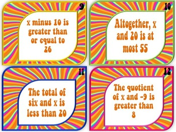 One-Step Inequalities Task Cards:  Write, Solve, and Graph