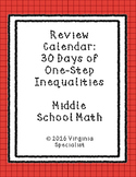One Step Inequalities and Graphing Inequalities Review Calendar