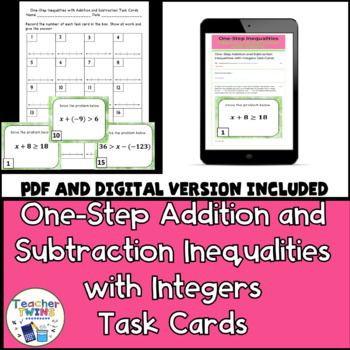 One-Step Inequalities with Addition and Subtraction Task Cards CCS 7.EE.4b