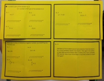 One Step Inequalities with Graphing - Foldable