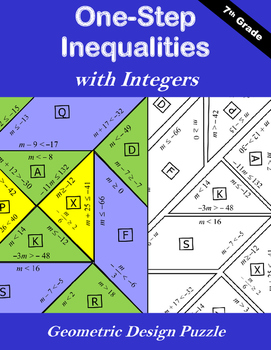 One-Step Inequalities with Integers Puzzle