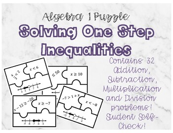 One Step Inequality Matching Puzzle