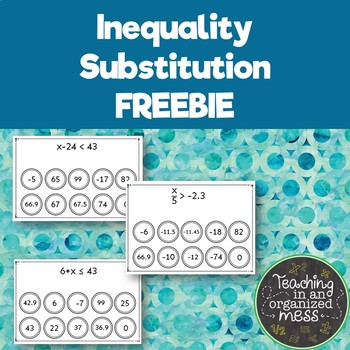 One Step Inequality Substitution FREEBIE