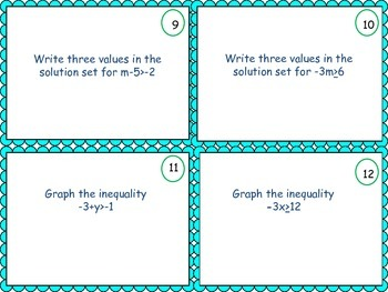 One Step Inequality Task Cards