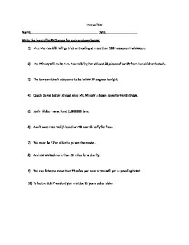 One Step Inequality Word Problems