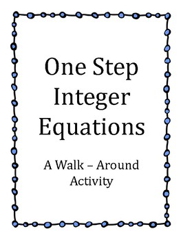 One Step Integer Equation Class Activity