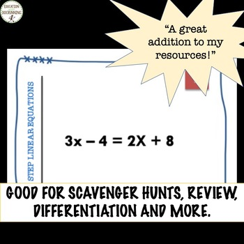 Multi-Step Linear Equations Task Card Activity