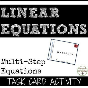 MultiStep Linear Equations Task Card Activity