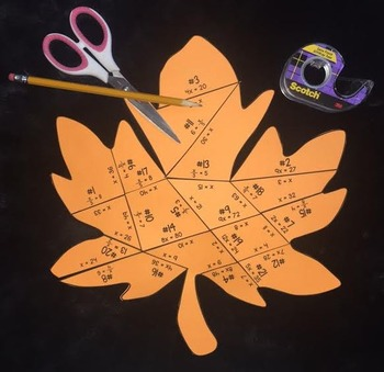 One- Step Multiplication & Division Equations (Leaf PUZZLE)