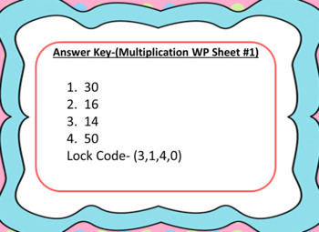 One Step Multiplication Word Problems-Lock Box Escape Room