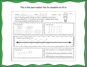 3rd Grade Multiplication Word Problems Products of 50 or Less