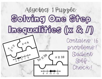 One Step Multiplication and Division Inequality Matching Puzzle