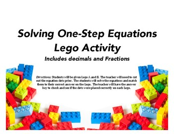 One-Step Solving Equations including Decimals and Fractions Lego Activity