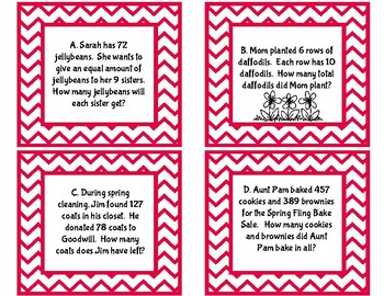 One Step Story Problem Task Cards - Spring Edition