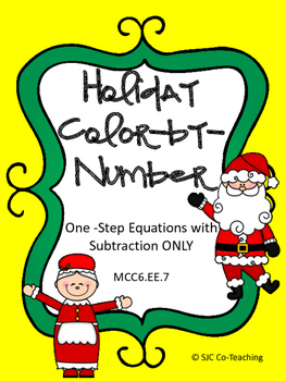One-Step Subtraction Equations Color-By-Number Practice Sheets