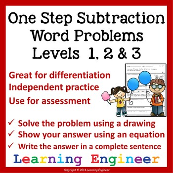 2nd Grade Math Center (Subtraction Word Problems) One Step Equations