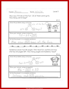 2nd Grade Math Center Subtraction Word Problems One Step Equations