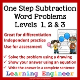 2nd Grade Math Center: One Step Subtraction Word Problems
