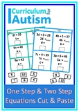 One Step Two Step Equations Cut Paste Autism Middle School