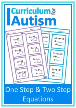 One Step & Two Step Equations with Scaffolding, Autism & Special Education