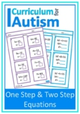 One Step Two Step Equations with Scaffolding Autism Special Education