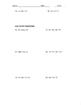 One-Step, Two-Step, and Multi-Step Equations Review