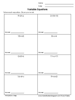 One-Step Variable Equations Mult/Div Easy Packet