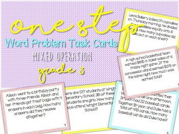 One-Step Word Problem Task Cards--Great Test Prep!