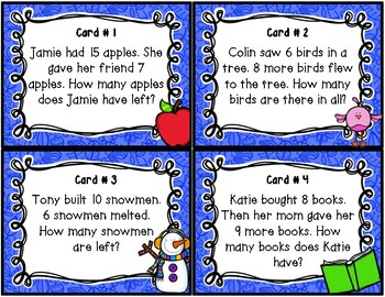 One Step Word Problem Task Cards within 20 1.OA.A.1