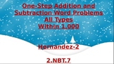 One-Step addition and subtraction word problems within 1,000