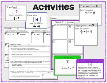 Equations Bundle (One and Two Step) - Notes, Practice and Assessments