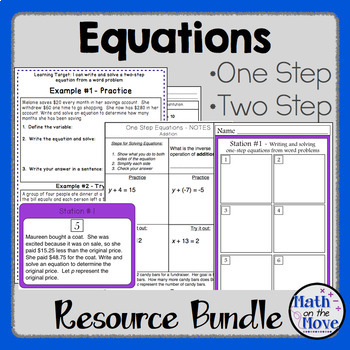 Equations Bundle (One and Two Step) - Notes, Practice and