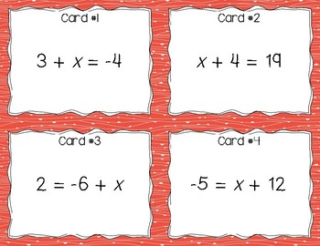 One-Step and Two-Step Equations Task Cards