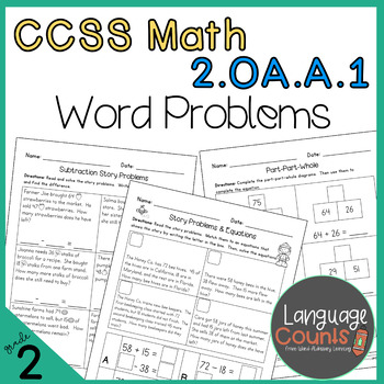 2nd Grade 1 Step And 2 Step Word Problems No Prep Practice Worksheets