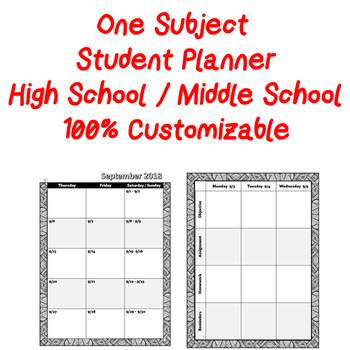 One Subject Student Planner for High School or Middle School