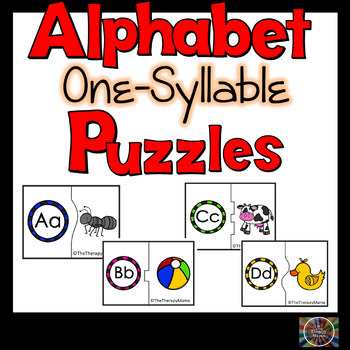 One Syllable Alphabet Match Up Puzzles Self Correcting