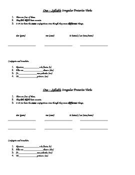 One Syllable Irregular Preterite Verb Notes