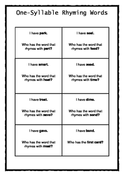 One-Syllable Rhyming Words Game