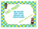 One Syllable Short Vowel Words with Digraphs and Digraph Blends