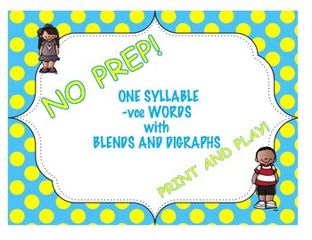 One Syllable -vce Words with Blends and Digraphs