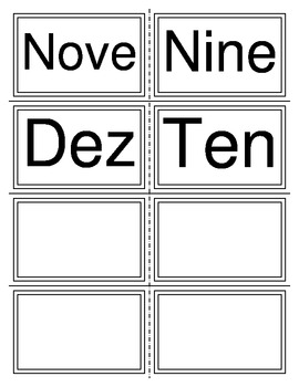 One-Ten Flash Cards in Portuguese and English