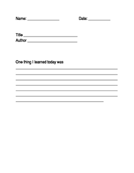 One Thing I Learned Worksheet