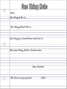 One Thing Note, An introduction to the teacher