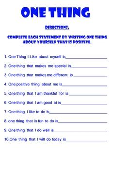 One Thing: Positive Self Esteem Worksheet by Oasis ...