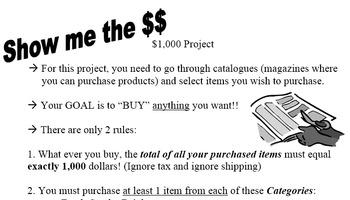$1000 Catalogue Math Project