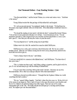 One Thousand Dollars - O. Henry - Easy Reading Version + Quiz